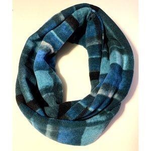 Warm Soft Blue Green Plaid Fleece Infinity Scarf
